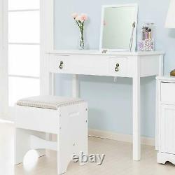 Makeup Table Set with Flip Top Mirror Stool Writing Desk Drawers with Dividers White