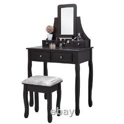 Makeup Vanity Dressing Table- 360° Rotatable&Detachable Mirror -with Stool Drawers