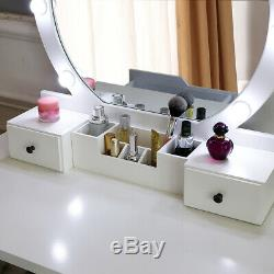 Makeup Vanity Dressing Table Set WithStool Led Mirror 4 Drawers Jewelry Organizers