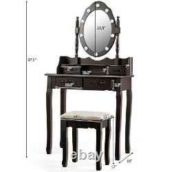 Makeup Vanity Dressing Table Set with10 Dimmable Bulbs Cushioned Stool Brown