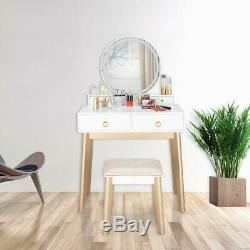 Makeup Vanity Jewelry Dresser Table Set LED Round Mirror Stool Desk with Drawer