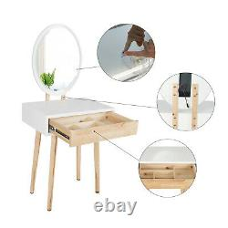 Makeup Vanity Jewelry Dressing Table Set Led Lights Mirror Stool Desk with Drawer