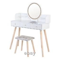 Makeup Vanity Set Dressing Table 3 Variable LED Light Mirror 3 Drawers with Stool