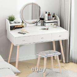 Makeup Vanity Set Dressing Table Round Mirror with LED Light 3 Drawers withStool
