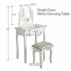 Makeup Vanity Set Dressing Table with Rotating Mirror 1 Drawer withCushioned Stool