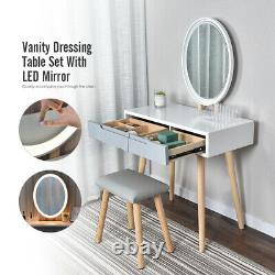 Makeup Vanity Table Dressing Desk Stool Set Drawers LED Mirror Touch Screen Wood