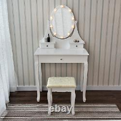 Makeup Vanity Table Set withHollywood LEDs Lights Mirror Dressing Table Stool Set