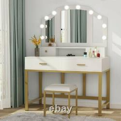 Makeup Vanity Table with 3 Lighted Mirror Home 4Drawers Dressing Table Stool Set