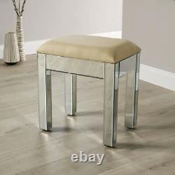 Mirrored Bedroom Furniture Dressing Table Stool Leather Padded Seat Venetian
