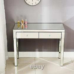 Mirrored Glass Vanity Makeup Dressing Table Set Desk with Stool 2 Drawers & Mirror