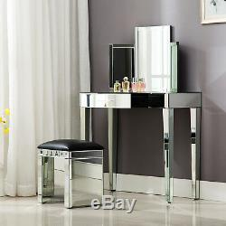 Mirrored Glass Vanity Table Bedside Cabinet Nightstand Stool Mirror With Drawer