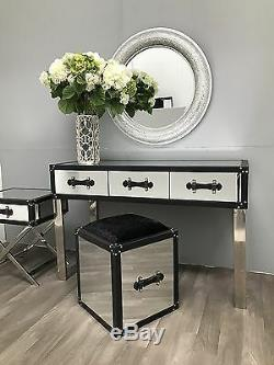 Mirrored Stool Padded Dressing Table Chair Seat Furniture Glass Venetian Bedroom