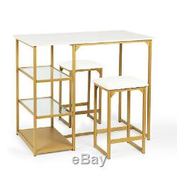 Modern Dining Kitchen Table Set / Bar Table Set with 2 Compact Bar Stools / Meta
