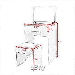 Modern Dressing Table Makeup Vanity Table set With upholstered Stool Mirror White