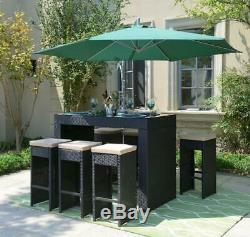 Modern Outdoor All-Weather Wicker (7 Piece Set) Glass Top Bar Table & Stools