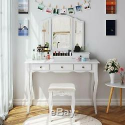Modern Vanity Set Makeup Dressing Table Removable Mirrors Desk 5 Drawers WithStool