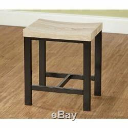 Natural Black Metal 5 pc Dining Set 4 Chairs Table Kitchen Nook Wooden Dinette