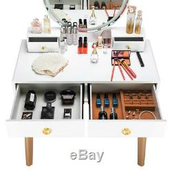New Bedroom Makeup Vanity Set Dressing Table with Stool 3 Variable Touch LED Light