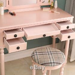 New Vanity Makeup Table Set 3 Mirrors 5 Drawers with Stool Dressing Dresser