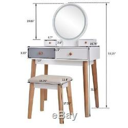 New Vanity Stool Set Makeup Dressing Table Removal Mirror 3 Touch LED Backlight