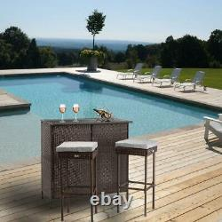 OSHION 3PCS Rattan Wicker Bar Set Patio Outdoor Table &2 Stools Furniture Chairs