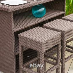 Outdoor Bar Set Lawn Patio Garden Dining Table Stools Chair Wicker Furniture NEW
