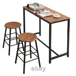 Outdoor Patio Bar Table + 2Pcs Round Stool Chairs Set Kitchen Dining Furniture