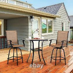 Outdoor Patio Table Chair Set Swivel Counter Height Chair Tall Bar Chairs Stools