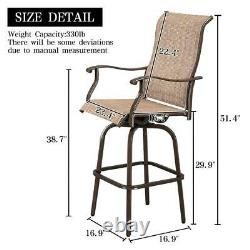 Outdoor Patio Textilene Swivel Bar Stools High Bistro Chairs Table Furniture Set