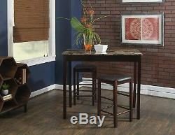 Pub Table Set 3 Piece Small Kitchen Chairs 2 High Top Stools Breakfast Outdoor
