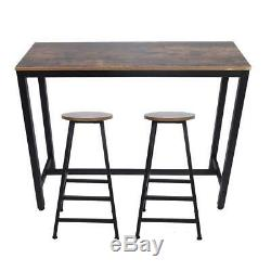 Pub Table Set 3 Pieces Bar Stools Dining Kitchen Furniture Counter Height Chairs