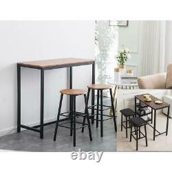 Pub Table Set Bar Stools Dining Home Kitchen Furniture Counter Height 3 Size US