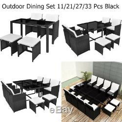 Rattan Outdoor Dining Set 11/21/27/33 PCS Garden Patio Furniture Table & Chairs