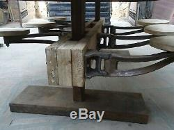 Restaurant Cast Iron Swing Bar Stool Seat (Only CI Base + Wooden Seat)