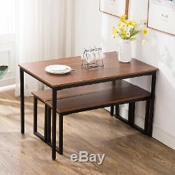 Retro Dining Set Breakfast Nook Table And 2 Benches Rectangular Kitchen Room