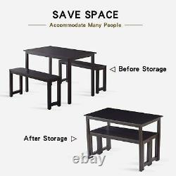 Set of 3 Dining Table Set Wooden Breakfast Dining Table with Two Benches Black