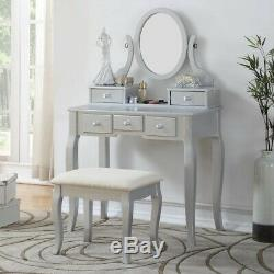 Silver Finish Vanity Set Oval Mirror Wooden Table Stool Makeup Drawer Bedroom