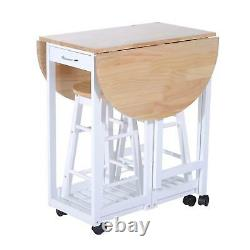 Small Kitchen Dining Table And Chairs 2 Stools Set Folding Portable Wheels Room
