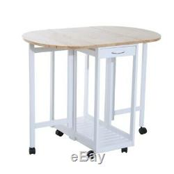 Small Kitchen Dining Table Chairs Set Folding Island Stool Breakfast Trolley 3PC