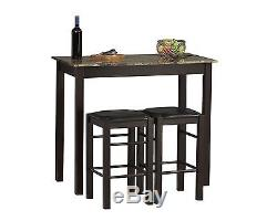 Small Kitchen Table with Stools Tall Set for High Breakfast Pub Nook Bar Space Top