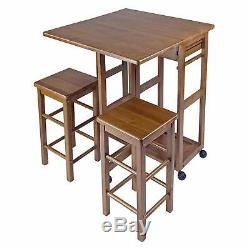 Small Space Dinning Set with Wooden Stool Chairs Wheeled Folding Kitchen Table Set