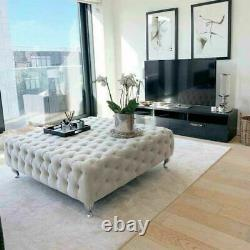 Square Coffee Table Upholstered Chesterfield Footstool Pouffe Foot Stool Seat