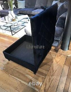 Square Storage Ottoman footstool and Coffee Table Upholstered Black