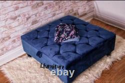 Square Storage Ottoman footstool and Coffee Table Upholstered HANDMADE Blue