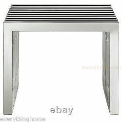 Stainless Steel Slat Grid Bench Seat End Side Table Stool Nuevo Amici Style