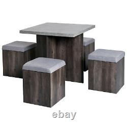 Stowaway Dining Set Table And 4 Chairs Stools Space Wooden Kitchen Furniture Bar