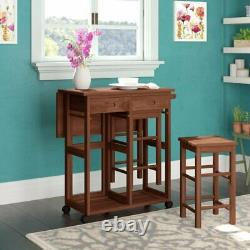 Teak 3 Piece Collapsable Dining Bar Table Set 2 Stool Chairs