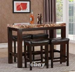 The Room Style 5Pc Faux Marble Counter Height Pub/ Dining Table & Stools Set