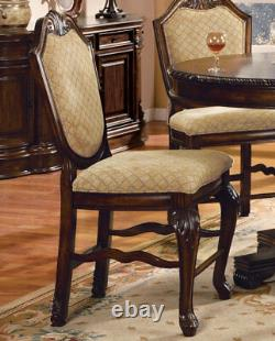 Traditional Brown Counter Height 5 piece Dining Room Set Round Table Chairs IACB