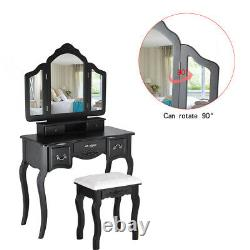 Tri Folding Mirror Vanity Dressing Table Set with Cushioned Stool & 5 Drawers US